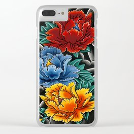 Japanese tattoo style Peonies  Clear iPhone Case