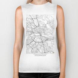 Stockholm Map White Biker Tank