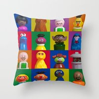 sesame street Throw Pillows featuring Action Figure Grid: Sesame Street by CantinaDanny