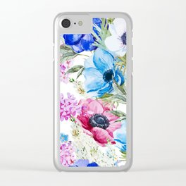 Girly Watercolor Floral Pattern Clear iPhone Case