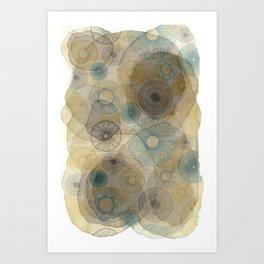 Watercolour Spirograph Art Print