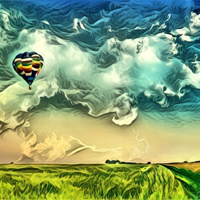 Air Balloon in the Sky with Clouds over the Landscape Comforters