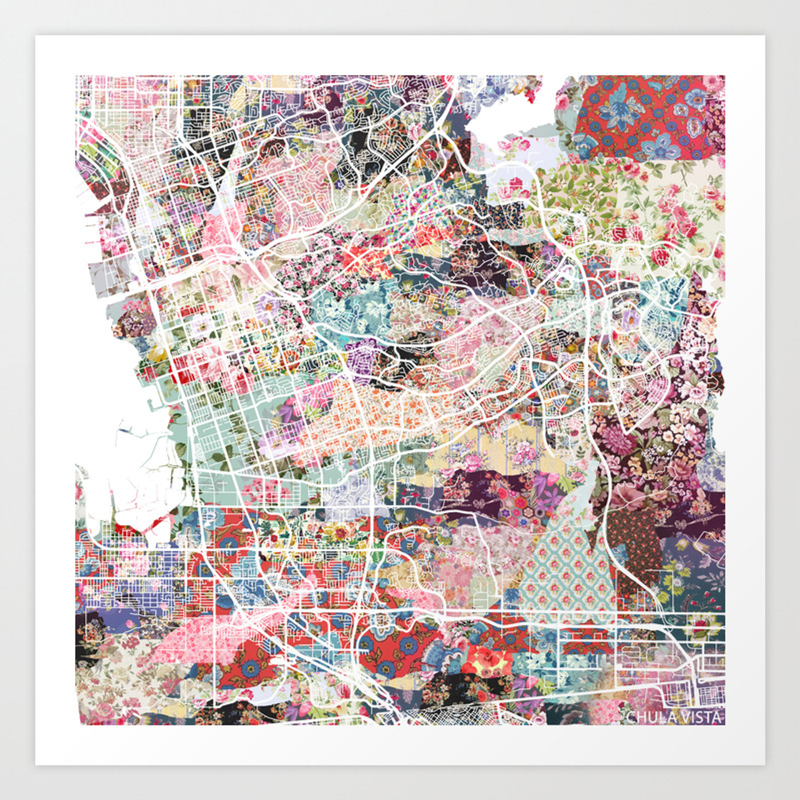 Chula Vista map Art Print by poeticmaps | Society6 on