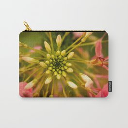 Cleome Pink Bloom with Green Carry-All Pouch