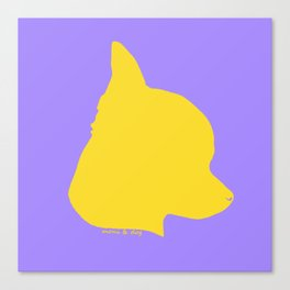 CHIHUAHUA YELLOW ON LAVENDER Canvas Print