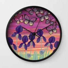 irises, snails, and veronica butterflies Wall Clock
