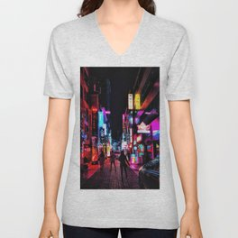 Vibrant Seoul Nights Unisex V-Neck