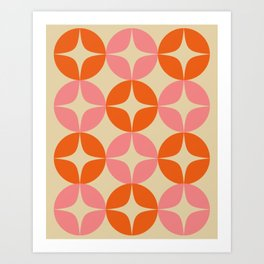 Mid Century Modern Pattern in Pink and Orange Art Print