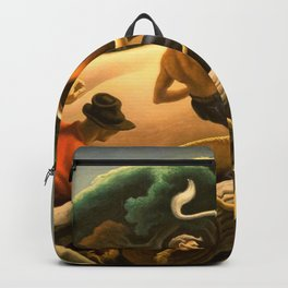Take the Bull by the Horns, Achelous and Hercules Mural Panel 2 landscape painting by Thomas Hart Benton Backpack