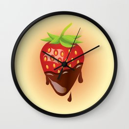 Strawberry covered with chocolate Wall Clock