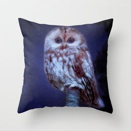 cute little screech owl Throw Pillow
