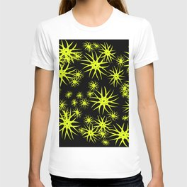 A pattern with blue stars and snowflakes, a deep space in volume. T-shirt