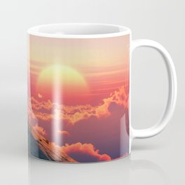 Elephant and dog sit on a mountain top Coffee Mug