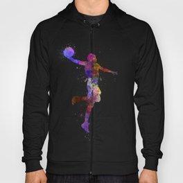 basketball player one hand slam dunk silhouette Hoody