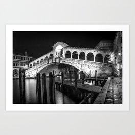 VENICE Rialto Bridge at Night | Monochrome Art Print