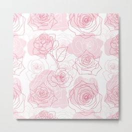 Beautiful Rose Flower Pattern Art Metal Print