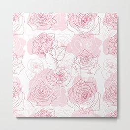 Beautiful Rose Flower Pattern Art Metal Print