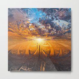 A Stained Glass Fractal Sunset Over Tianjin, China Metal Print