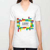 pun V-neck T-shirts featuring CSS Pun - Lego by iwantdesigns