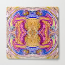 psychedelic geometric symmetry abstract pattern in pink yellow blue Metal Print