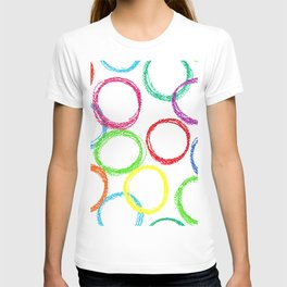 Seamless pattern background with colored circles of pastel crayon T-shirt