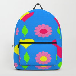 Daisy and heart print, turquoise, pink and yellow Backpack