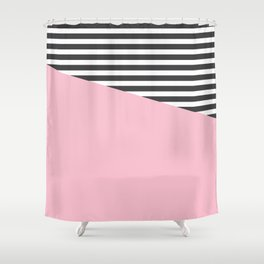 Pink & Gray Stripes Shower Curtain