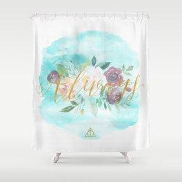 Always - Floral Letterpress/Gold Shower Curtain