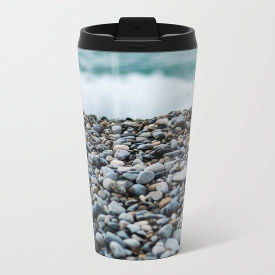 On the Water Edge (Beach & Rocks) Metal Travel Mug