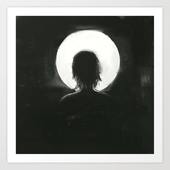 facing the moonlight Art Print