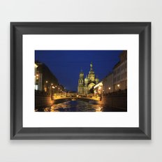 Saint Petersburg Russia Night Framed Art Print