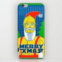c3po iPhone & iPod Skins featuring Santa C3PO by Xenia Pirovskikh