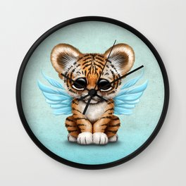 Cute Baby Tiger Cub with Fairy Wings on Blue Wall Clock