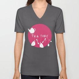 Pink Tea Time Unisex V-Neck