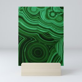 GREEN MALACHITE STONE PATTERN Mini Art Print