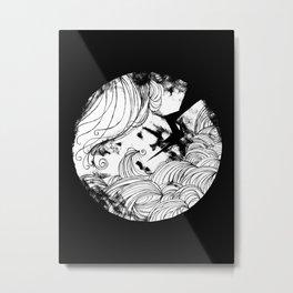 The wave in black Metal Print