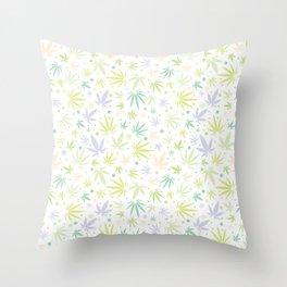 Cute Pastel Cannabis Pattern Throw Pillow