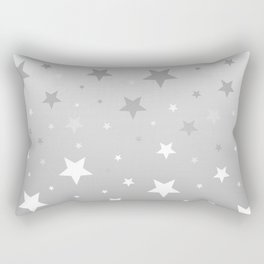 Scattered Stars Ombre Pale Silver Gray to White Rectangular Pillow