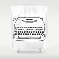 typewriter Shower Curtains featuring 'Typewriter' by Ben Rowe