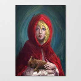 Red and Little Wolf Canvas Print