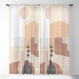 Abstract Elements 18 Sheer Curtain