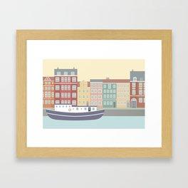 Nyhavn Illustration, Copenhagen, Denmark Framed Art Print