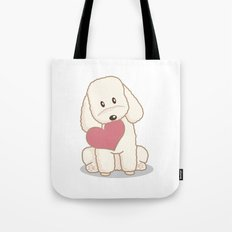 Toy Poodle Dog with Love Illustration Tote Bag
