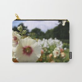 White and Red Hollyhock flower Carry-All Pouch