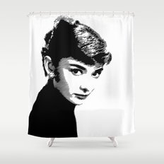 Audrey Hepburn Black and white Shower Curtain