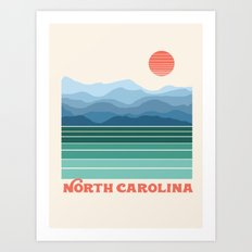 North Carolina - retro travel poster 70s style throwback minimalist usa state art Art Print