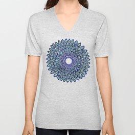 Peacock Mandala – Navy & Gold Unisex V-Neck