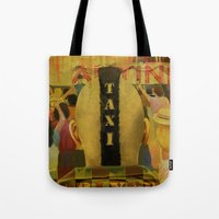 taxi driver Tote Bags featuring Taxi Driver by David Amblard