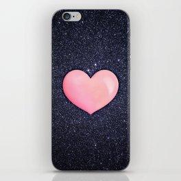 Pink heart on shiny black iPhone Skin