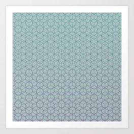 Tessellation - Culture Clash - Polytone Teal / Indigo Art Print